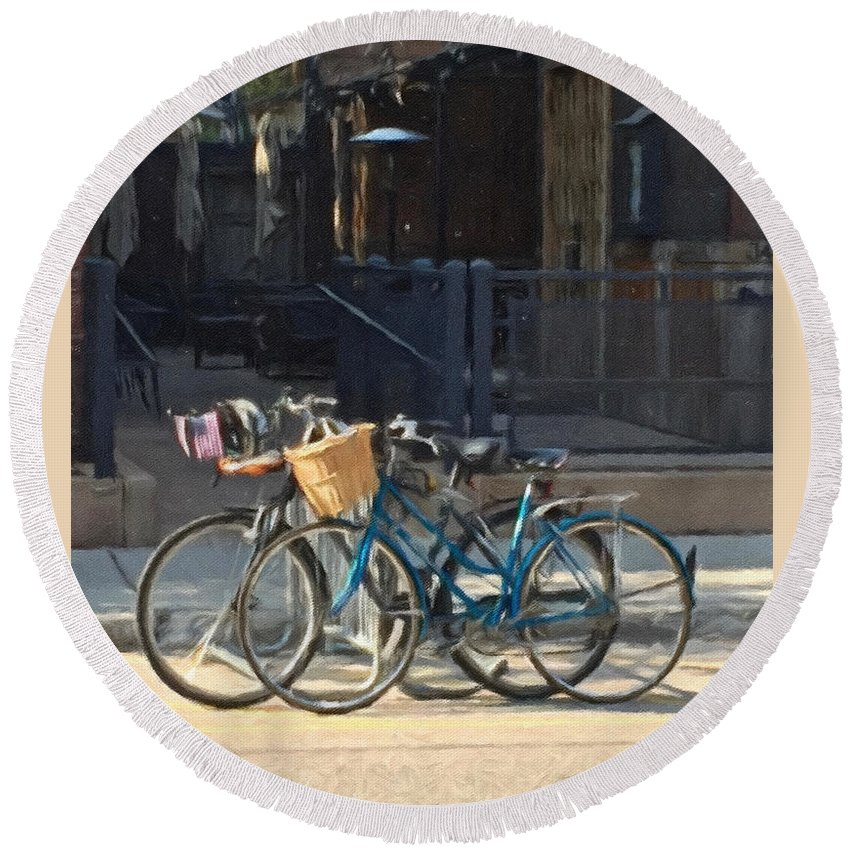 Bicycles Round Beach Towel featuring the digital art Bicycles On Main Street by James Keller