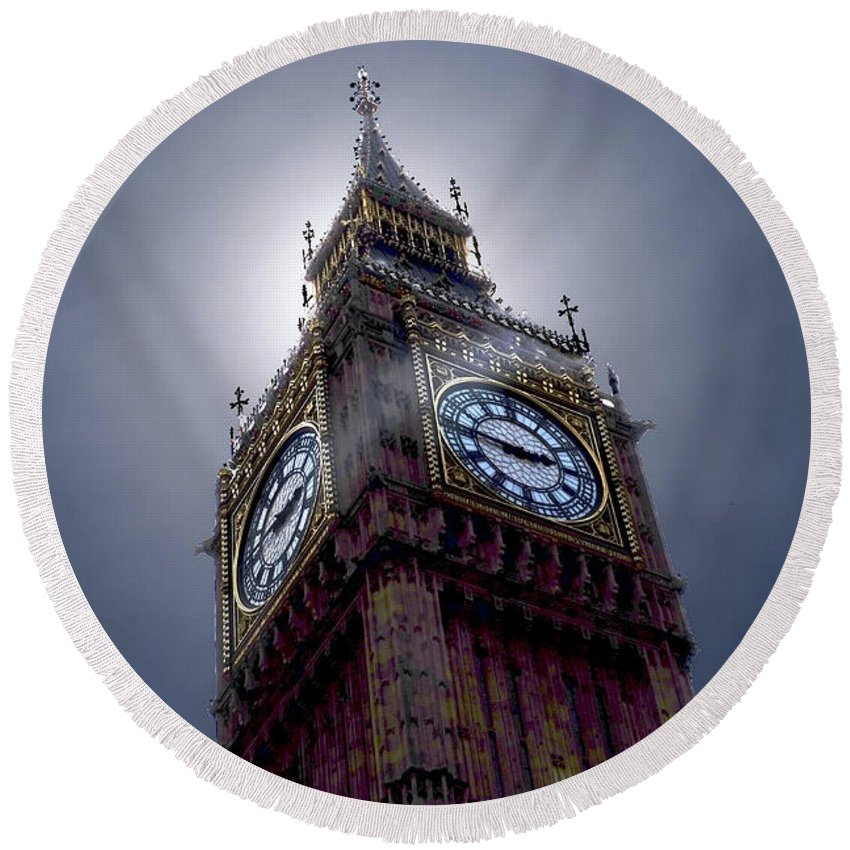 Landscape Round Beach Towel featuring the photograph Big Ben Backlit by Stan Roban