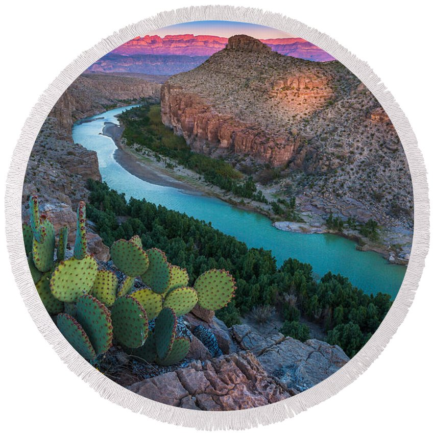 America Round Beach Towel featuring the photograph Big Bend Evening by Inge Johnsson