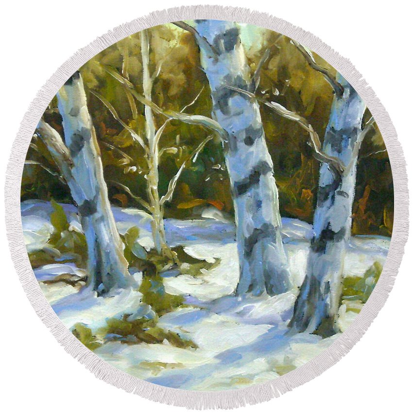 Art Round Beach Towel featuring the painting Big Birches In Winter by Richard T Pranke