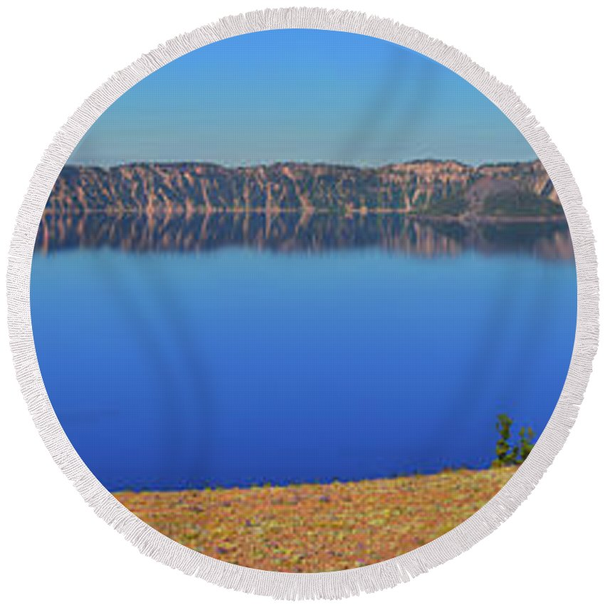 Crater Lake Round Beach Towel featuring the photograph Big Blue by Greg Norrell