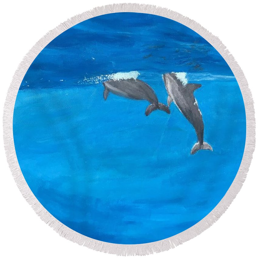 Ocean Round Beach Towel featuring the painting Big Blue by Kailey Lindemann