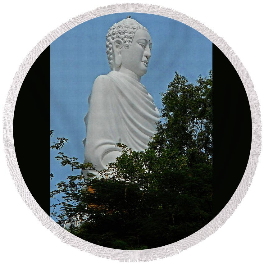 Phu My Round Beach Towel featuring the photograph Big Buddha 5 by Ron Kandt