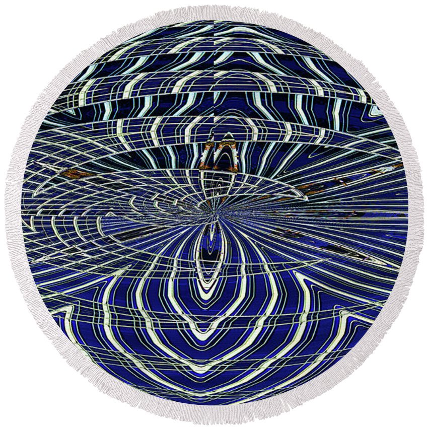 Big Building Abstract Round Beach Towel featuring the digital art Big Building Abstract by Tom Janca