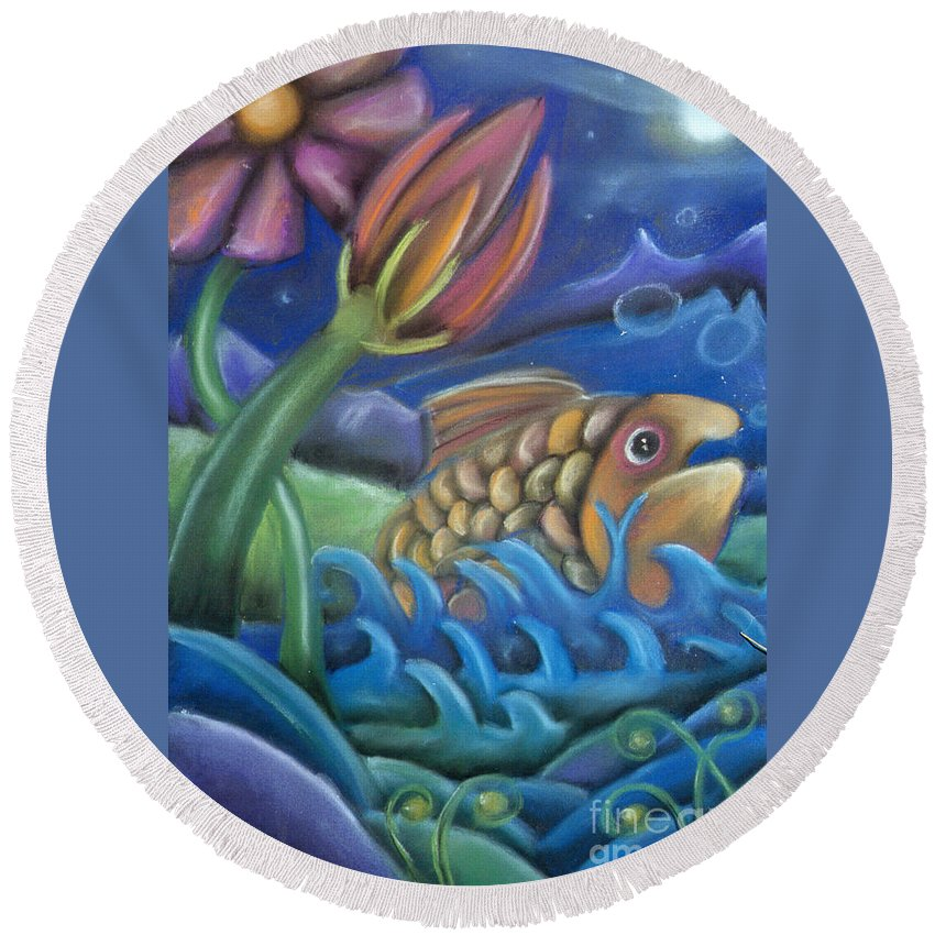Fish Round Beach Towel featuring the pastel Big Fish by Caroline Peacock
