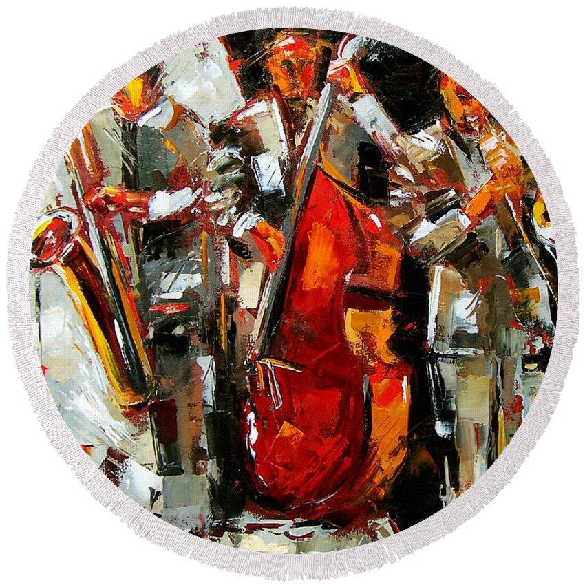Jazz Round Beach Towel featuring the painting Big Jazz by Debra Hurd