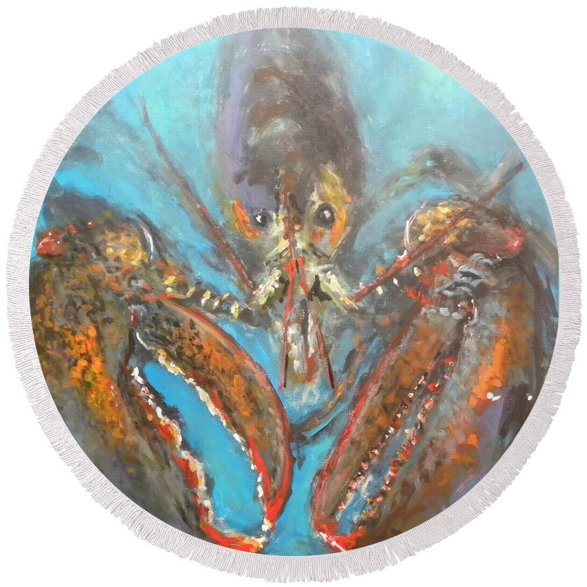Lobster Round Beach Towel featuring the painting Big Lobster by Paul Emig
