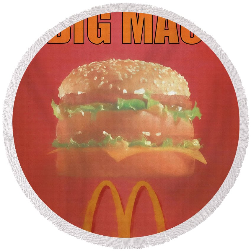 Big Mac Poster Round Beach Towel featuring the mixed media Big Mac Poster by Dan Sproul