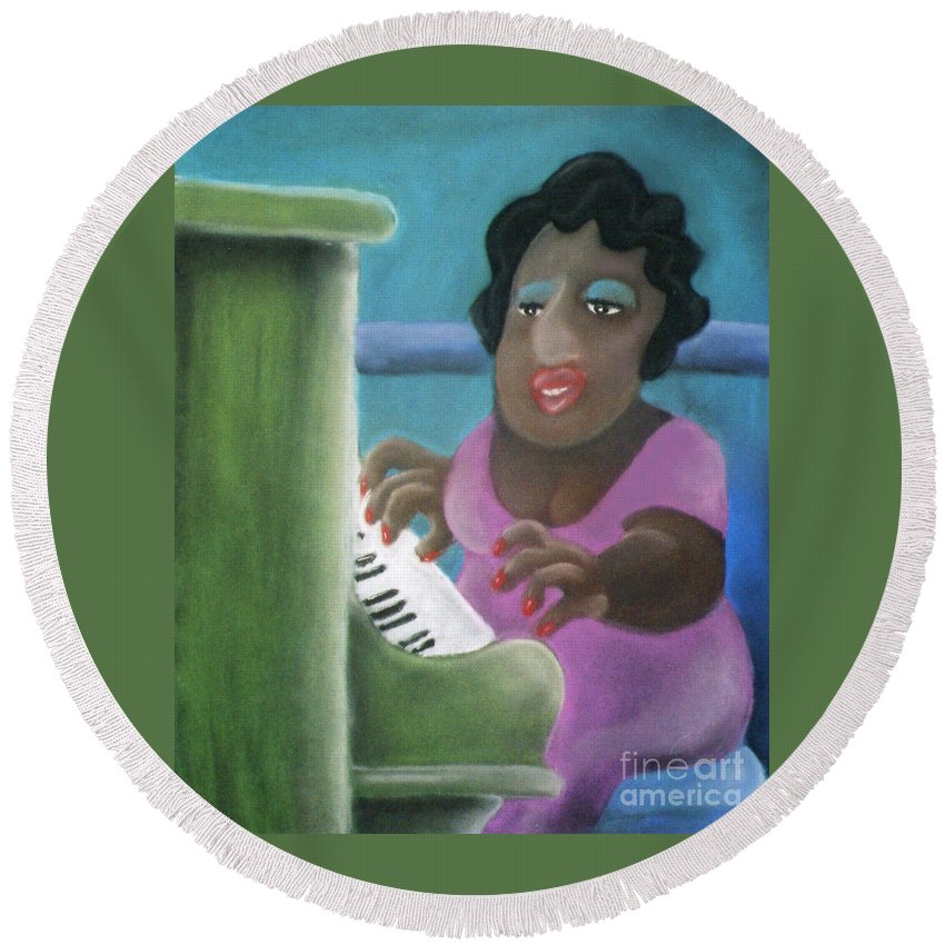 Playing Piano Round Beach Towel featuring the pastel Big Mama by Caroline Peacock