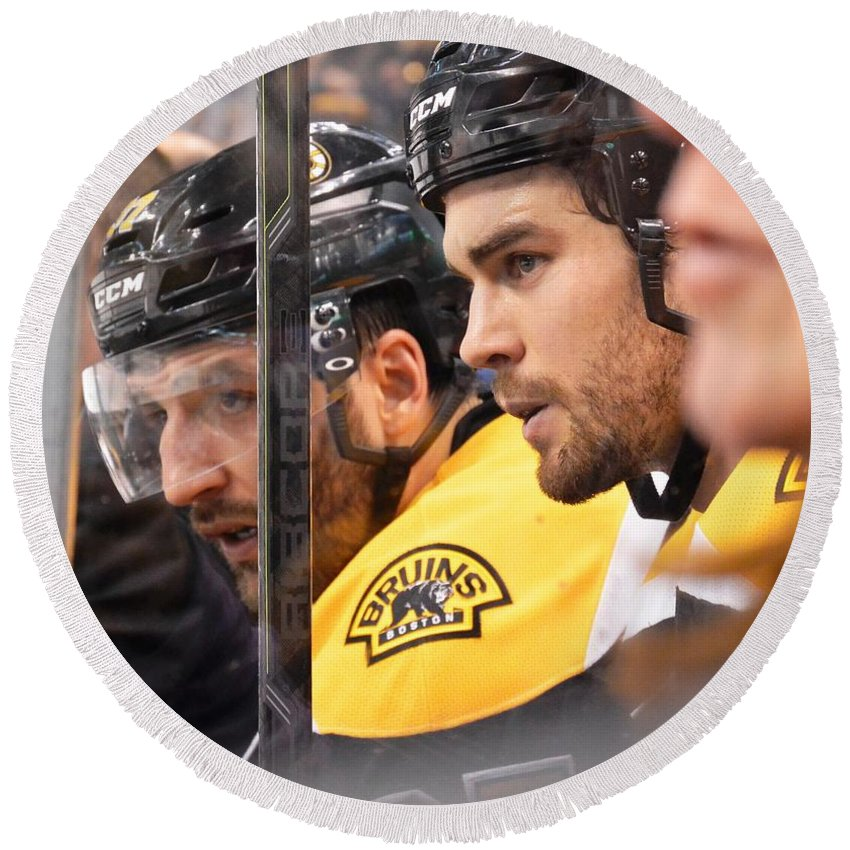Patrice Bergeron Round Beach Towel featuring the photograph Big Penalty Kill by Lisa Kilby