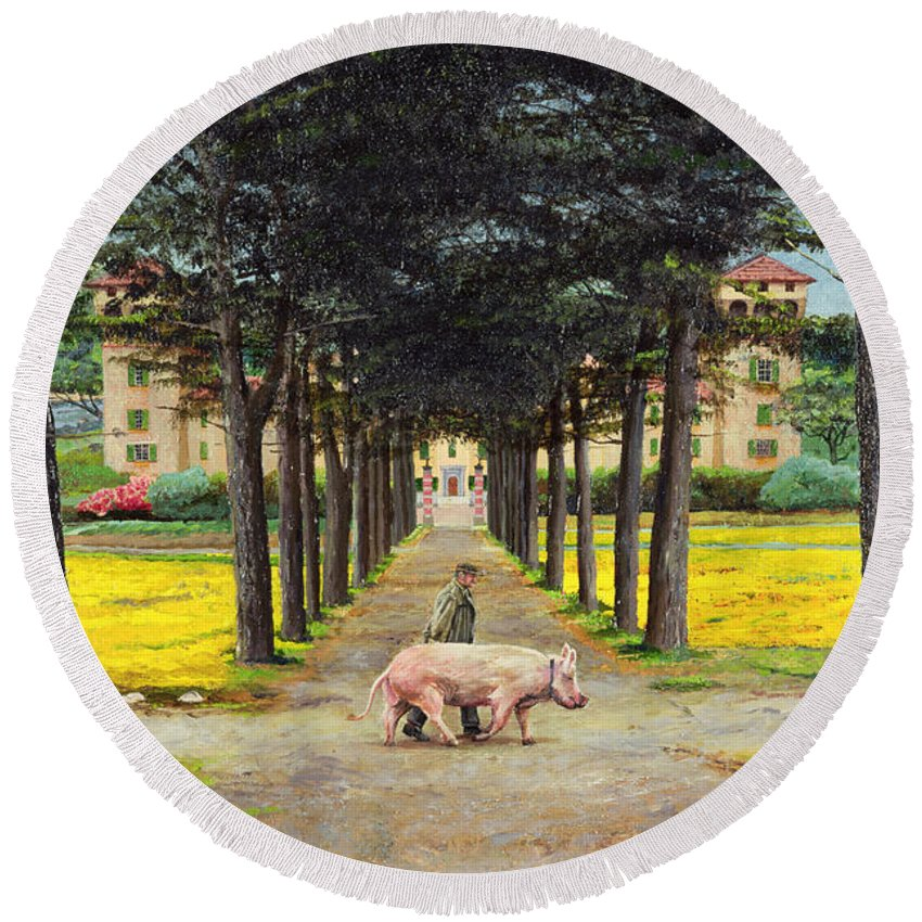 Farmer; Villa; Landscape; Italian; Italy; Animal; Pig; Big Pig; Tree; Trees; Tuscany; Pistoia Round Beach Towel featuring the painting Big Pig - Pistoia -tuscany by Trevor Neal