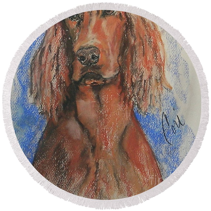 Irish Setter Round Beach Towel featuring the pastel Big Red by Cori Solomon