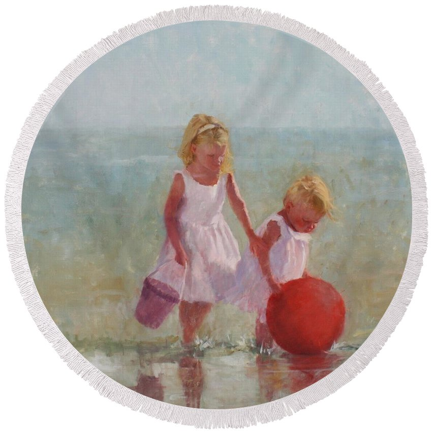 Children Round Beach Towel featuring the painting Big Red by Hope Reis