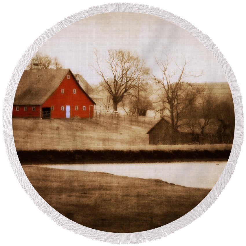 Barn Round Beach Towel featuring the photograph Big Red by Julie Hamilton