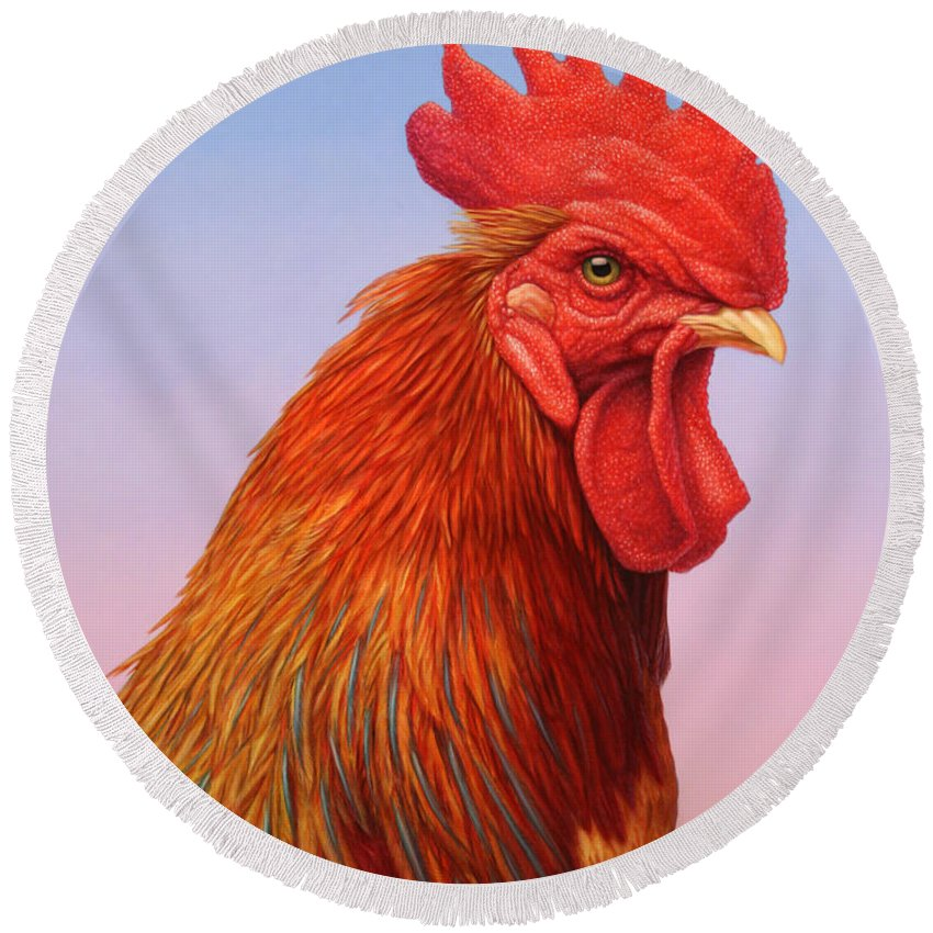 Rooster Round Beach Towel featuring the painting Big Red Rooster by James W Johnson