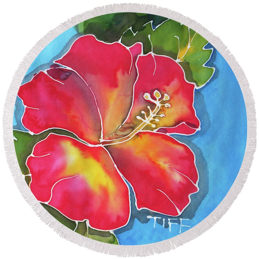 Tiff Bahamas Round Beach Towel featuring the painting Big Red by Tiff