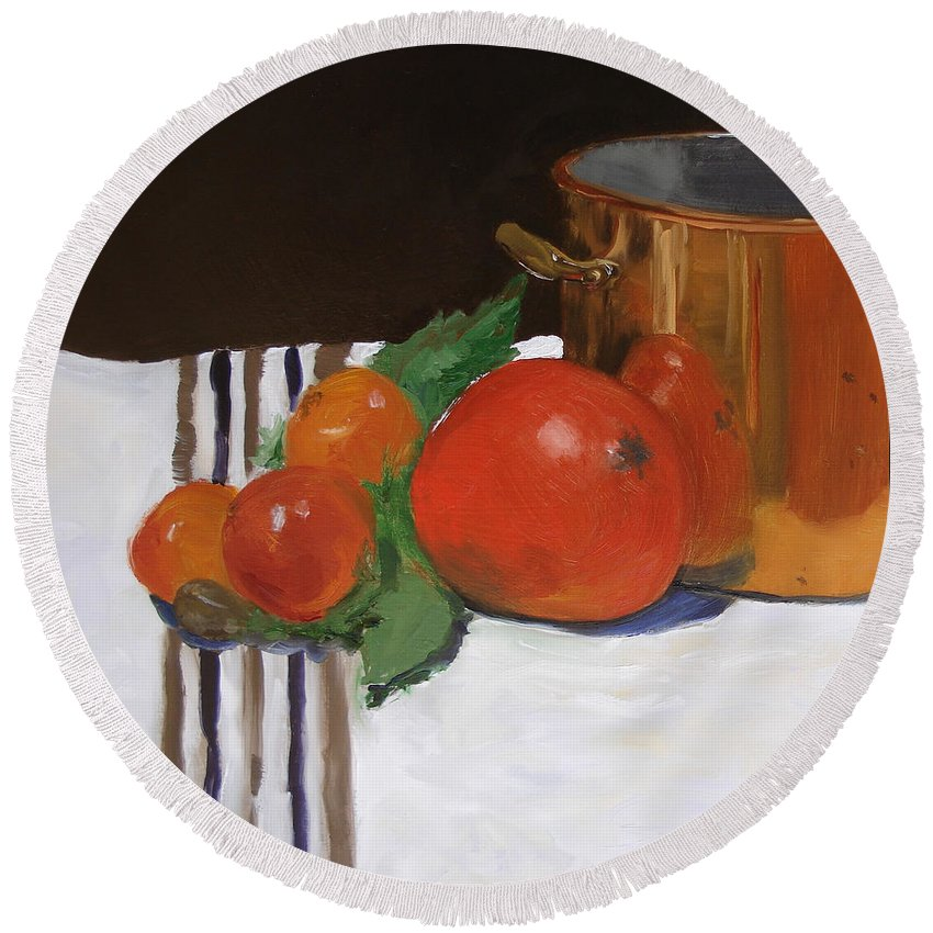 Still Life Round Beach Towel featuring the painting Big Red Tomato by Barbara Andolsek