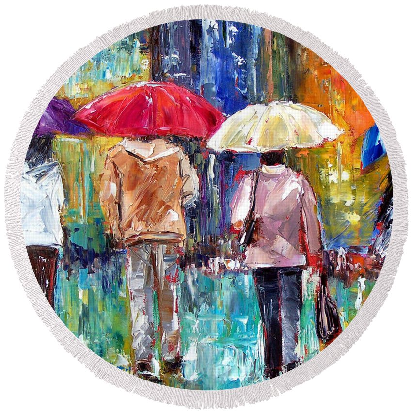 Rain Round Beach Towel featuring the painting Big Red Umbrella by Debra Hurd