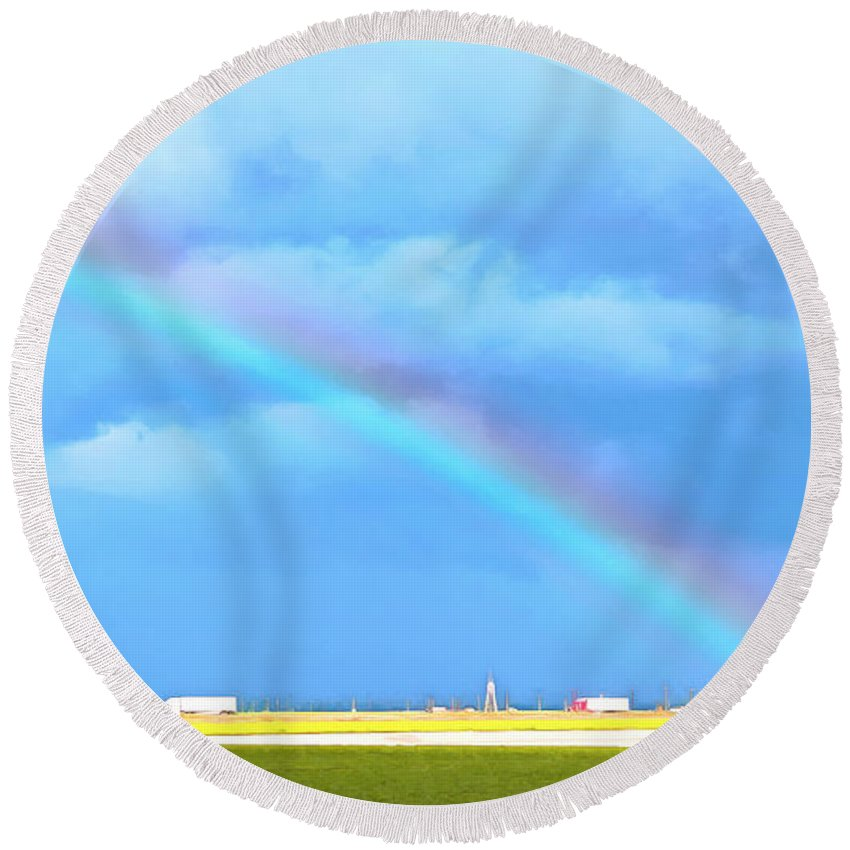 Big Rig Rainbow Round Beach Towel featuring the painting Big Rig Rainbow by Barbara Snyder
