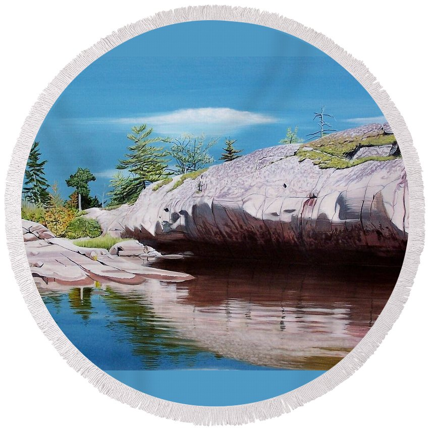 Landscape Round Beach Towel featuring the painting Big River Rock by Kenneth M Kirsch