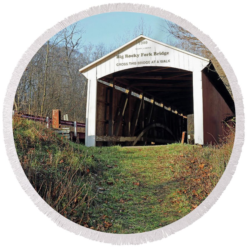 Big Round Beach Towel featuring the photograph Big Rocky Fork Bridge Indiana by Steve Gass