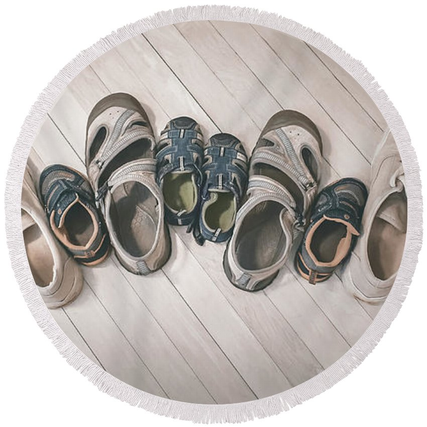 Shoes Round Beach Towel featuring the photograph Big Shoes To Fill by Scott Norris