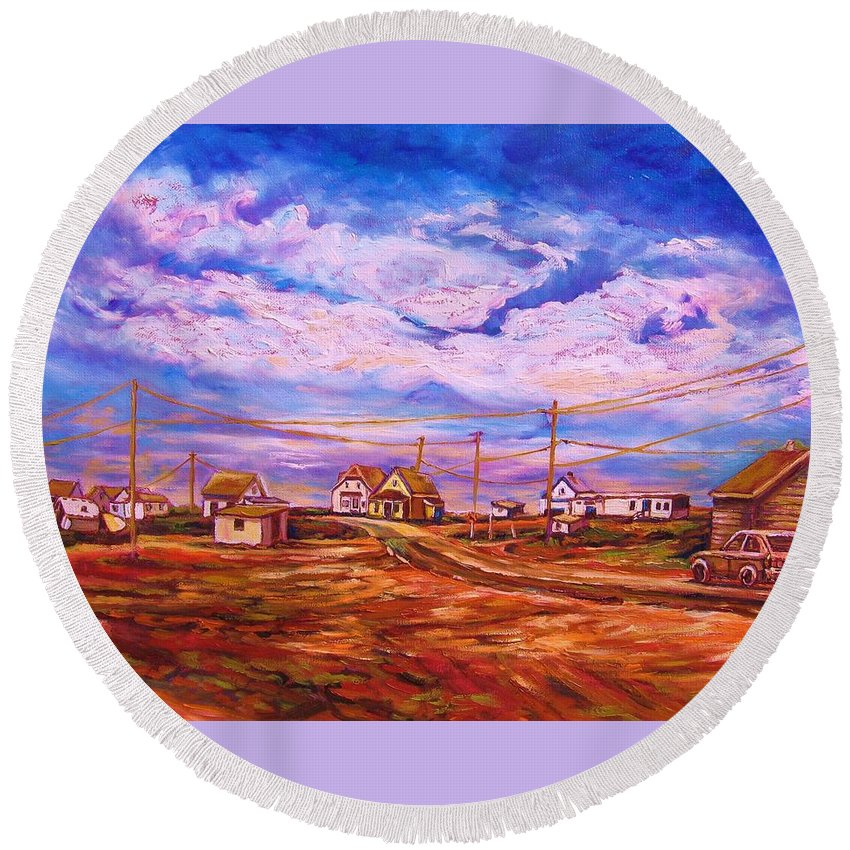 Cloudscapes Round Beach Towel featuring the painting Big Sky Red Earth by Carole Spandau