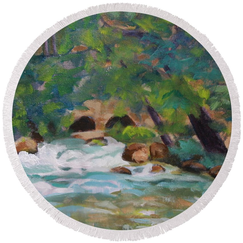 Impressionistic Round Beach Towel featuring the painting Big Spring on the Current River by Jan Bennicoff