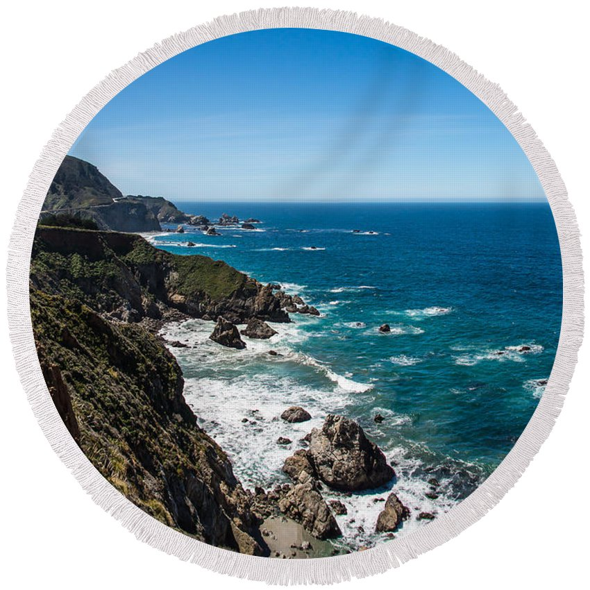 California Round Beach Towel featuring the photograph Big Sur Ca by David Downs