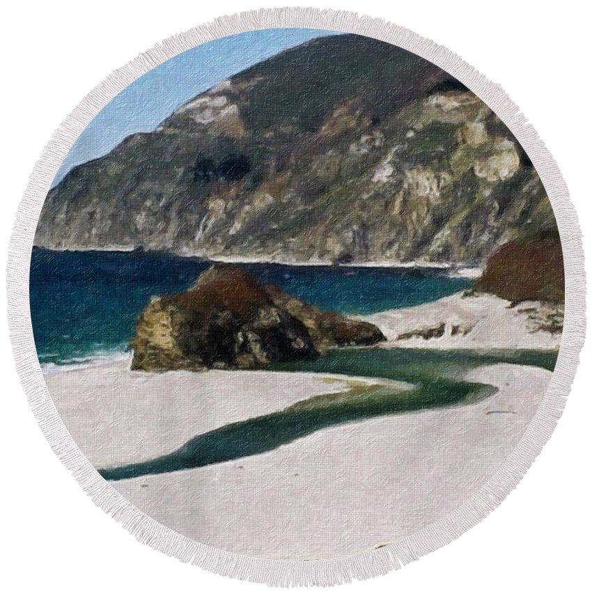 California Round Beach Towel featuring the painting Big Sur California by Teresa Mucha