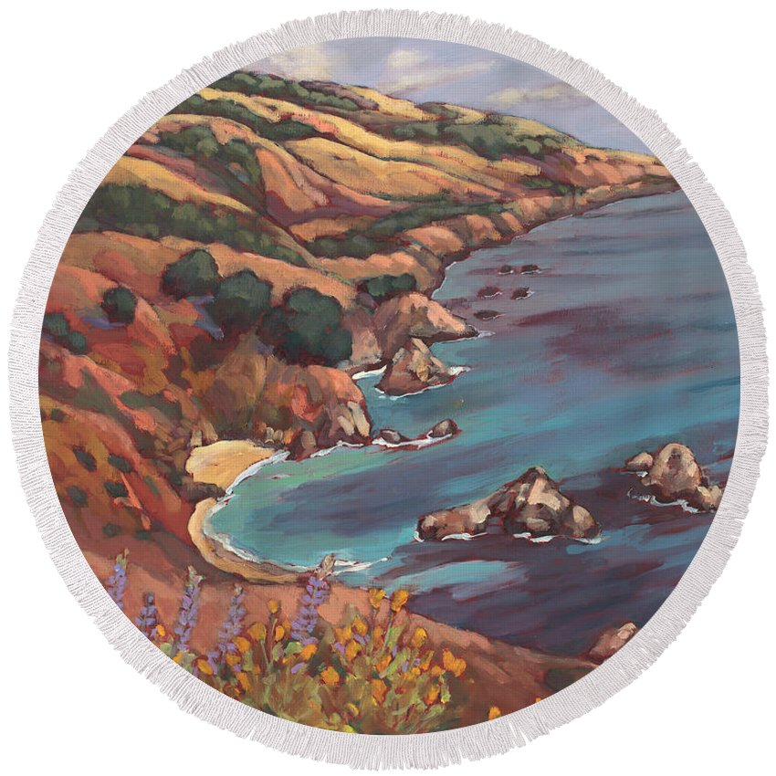 Ocean Round Beach Towel featuring the painting Big Sur Coast by Peggy Olsen