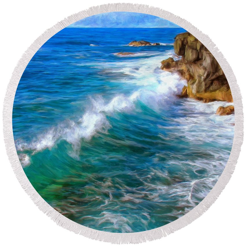 Big Sur Round Beach Towel featuring the painting Big Sur Coastline by Dominic Piperata