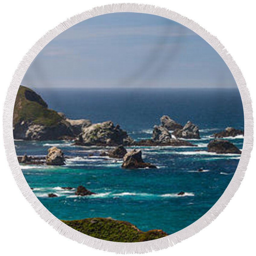 California Round Beach Towel featuring the photograph Big Sur by David Downs