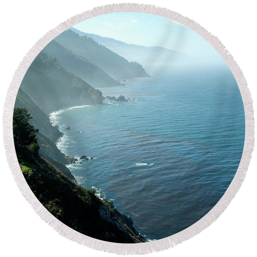 Big Sur Round Beach Towel featuring the photograph Big Sur Majesty by Charlene Mitchell