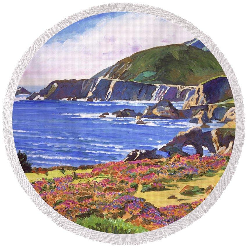Plein Air Round Beach Towel featuring the painting Big Sur Wildflowers - Plein Air by David Lloyd Glover