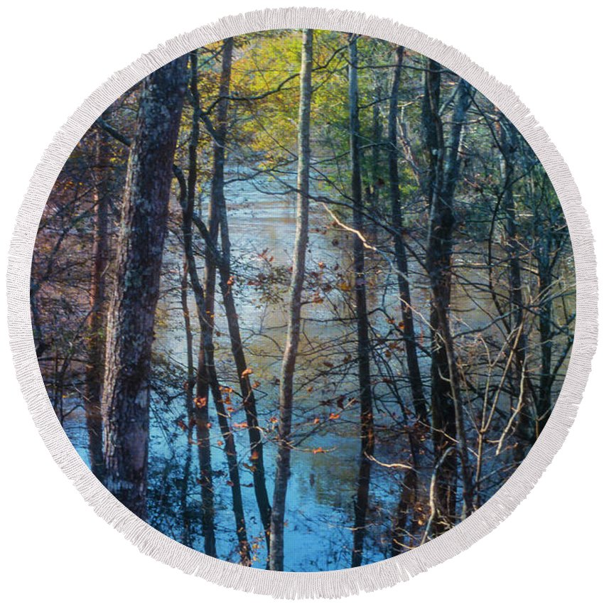 Big Thicket National Preserve Round Beach Towel featuring the photograph Big Thicket Water Reflection by Bob Phillips