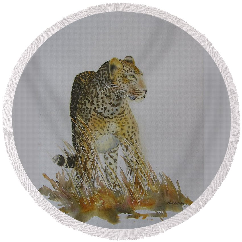 Cat Round Beach Towel featuring the painting Big Tom by Yvonne Ankerman