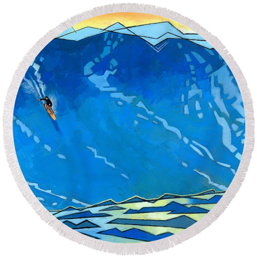 Surfer Round Beach Towel featuring the painting Big Wave by Douglas Simonson