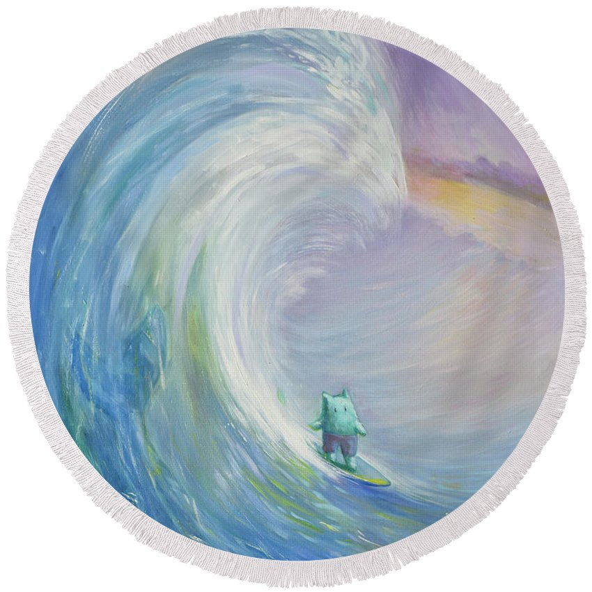 Surfer Round Beach Towel featuring the painting Big Wave by Olga Yatsenko