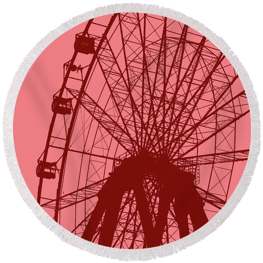 Big Round Beach Towel featuring the digital art Big Wheel Red by Eddie Barron