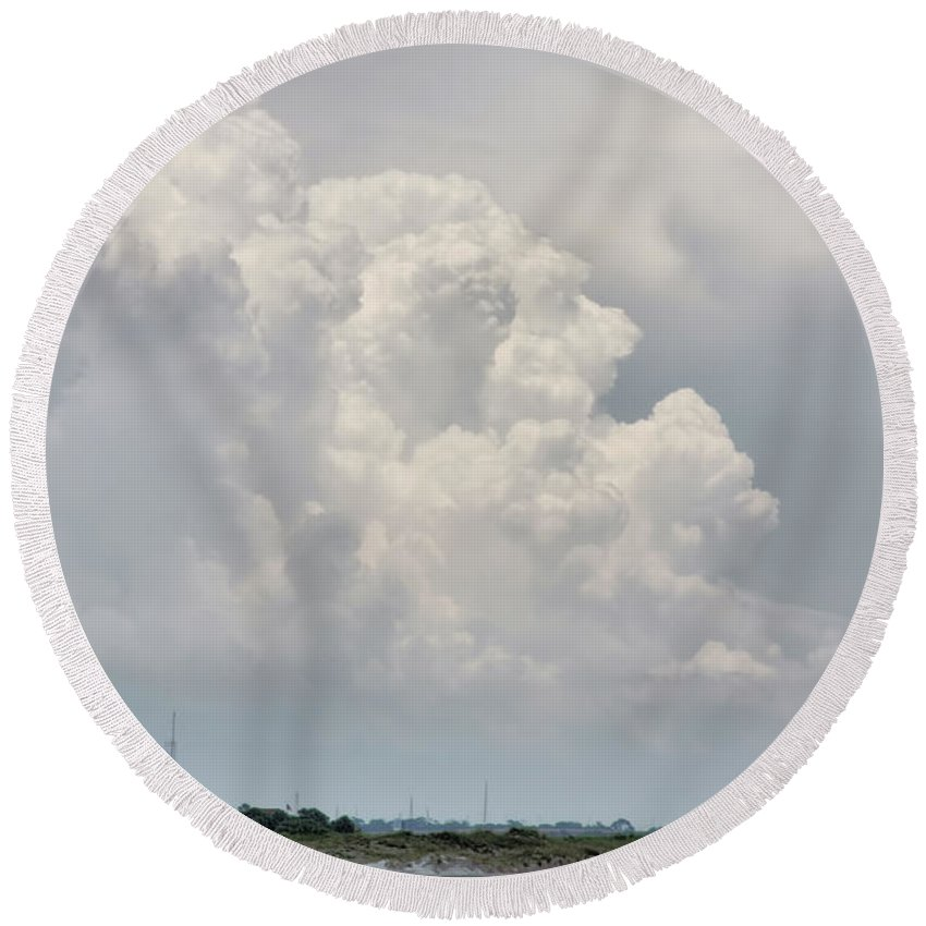 Clouds Round Beach Towel featuring the photograph Big White And Puffy by Deborah Benoit