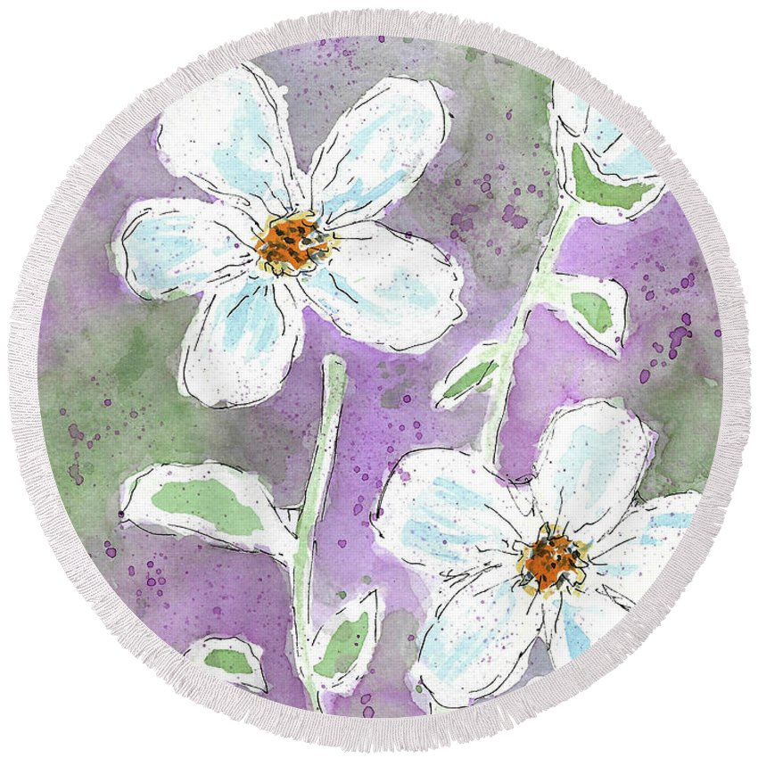 Watercolor And Ink Round Beach Towel featuring the painting Big White Flowers by Susan Campbell