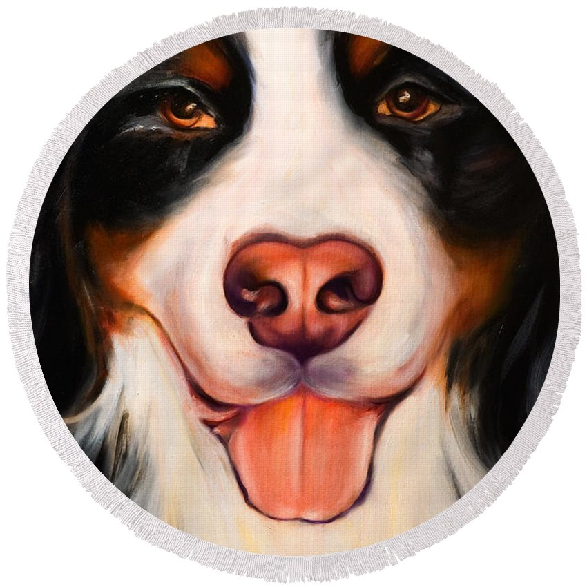 Dog Round Beach Towel featuring the painting Big Willie by Shannon Grissom