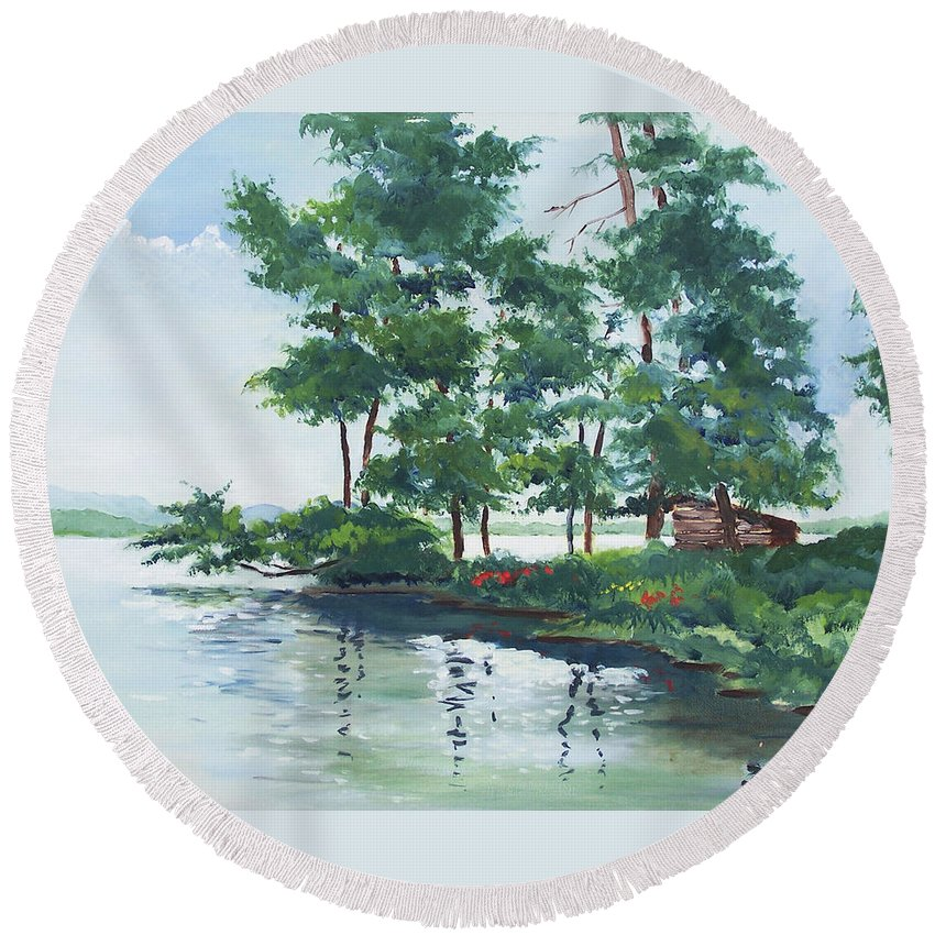 Landscape Round Beach Towel featuring the painting Big Wolf Lake by John Crowther