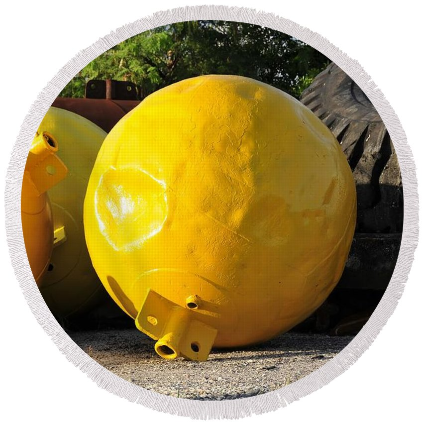 Yellow Round Beach Towel featuring the photograph Big Yellow Balls by David Lee Thompson