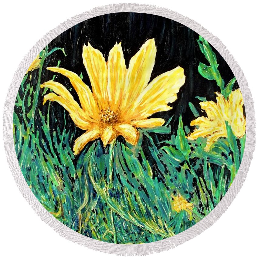 Flower Round Beach Towel featuring the painting Big Yellow by Ian MacDonald