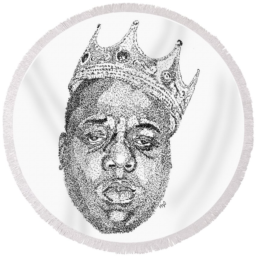 Black Art Round Beach Towel featuring the drawing Biggie by Marcus Price