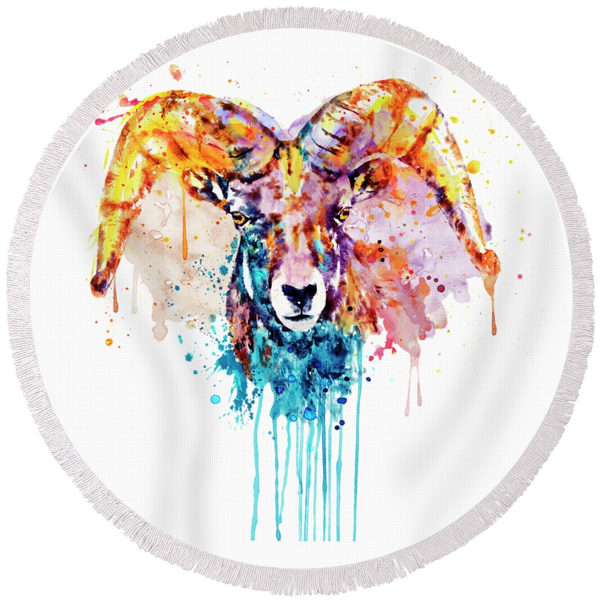Wild Sheep Paintings Round Beach Towels
