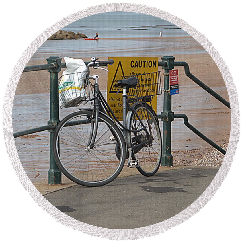 Bike Round Beach Towel featuring the photograph Bike Against Railings by Andy Thompson