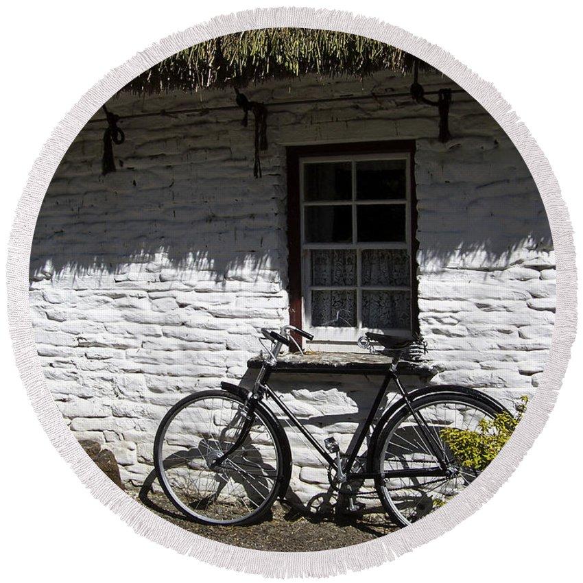 Irish Round Beach Towel featuring the photograph Bike At The Window County Clare Ireland by Teresa Mucha